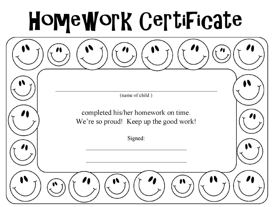 fun Homework Certificate for kids | Between Sessions Forms - Parents ...