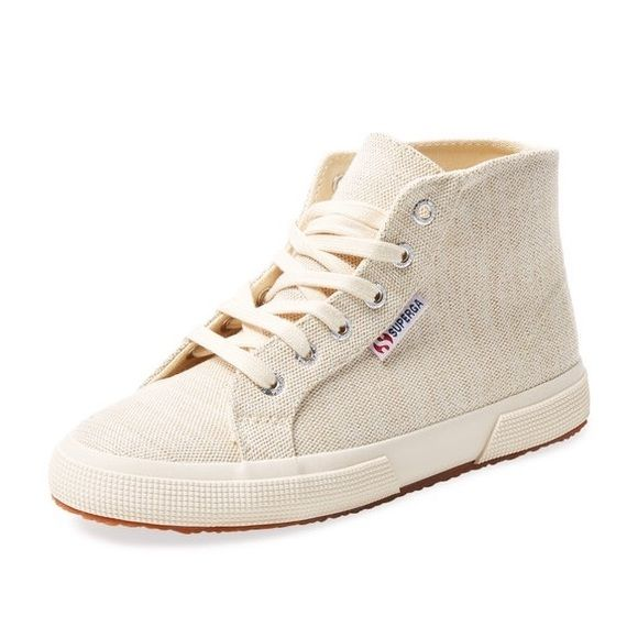 Superga hi top sneakers Superga ivory canvas hi too sneakers. Brand new, never been worn. Lace ups, logo tag on side and embossed on back heel. Ended up being too big for me. Superga Shoes Sneakers