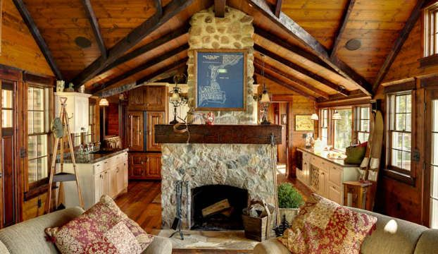 One Of The Sweetest Little Cabins Decoholic Cabin Design Cabin Living Room Cottage Fireplace