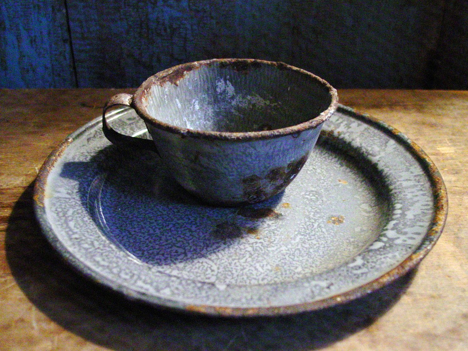 Old Farmhouse Kitchen Best Primitive Cup U0026 Dinner Plate Gray Graniteware  Finds. $24.00, Via
