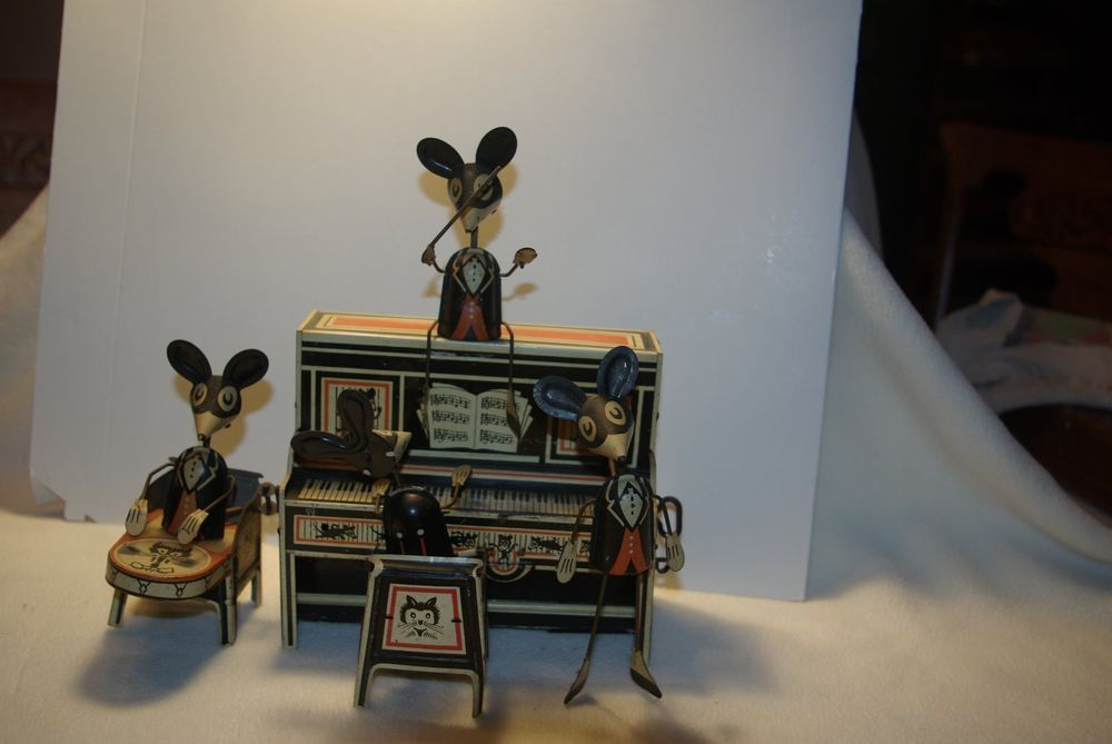 MARX MERRY MAKERS BAND 1929 WINDUP TOY WORKING MICE PLAYING MUSICAL INSTRUMENT #Marx