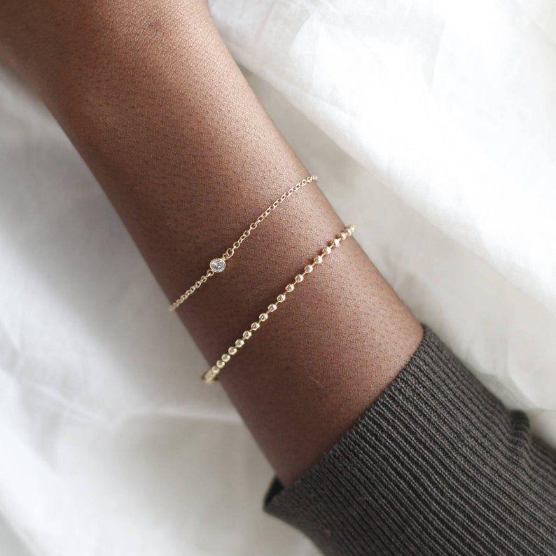 Delicate gold ball chain braceletgold beadedHandmade | Etsy