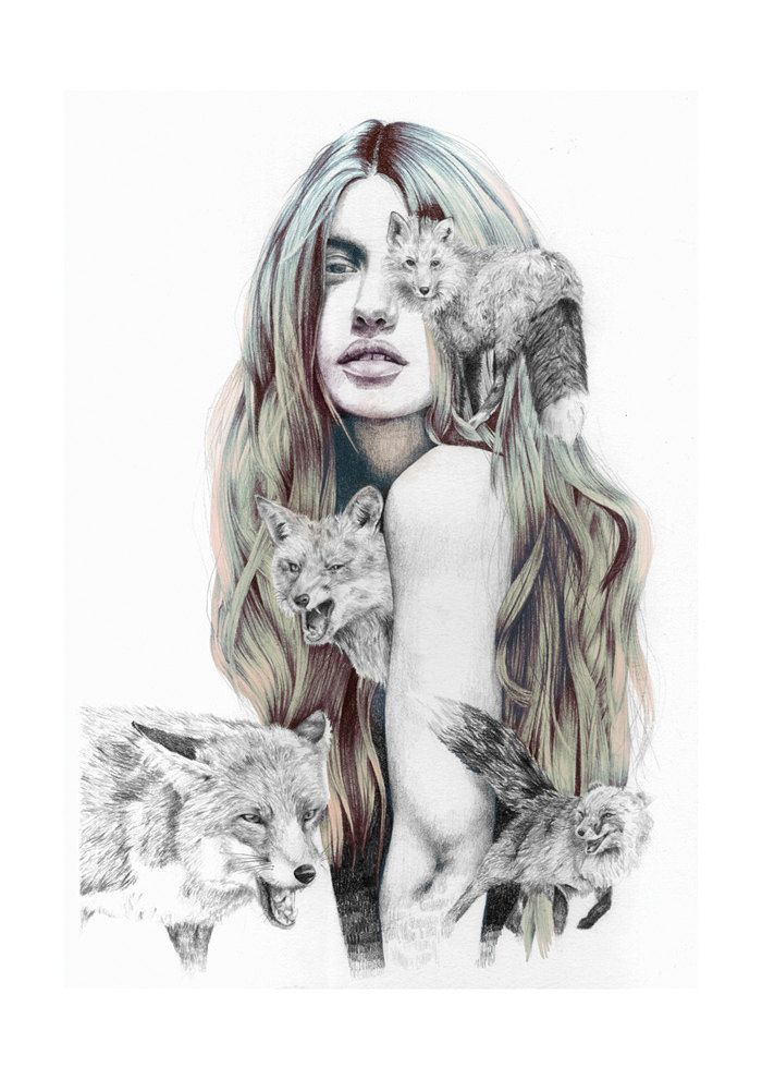 Zorros | Wild animals: foxes | Lápiz sobre papel de acuarela. Color digital. | Naranjalidad