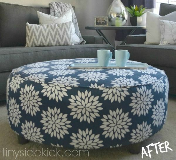DIY Home Decor | Been wanting to try your hand at reupholstering? This round  ottoman - Old Tire Rope Ottoman Super Easy DIY Video Tutorial Ottomans