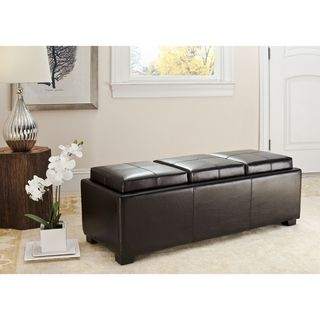 Genial Safavieh Broadway Triple Tray Brown Leather Storage Ottoman   Overstock™  Shopping   Great Deals On