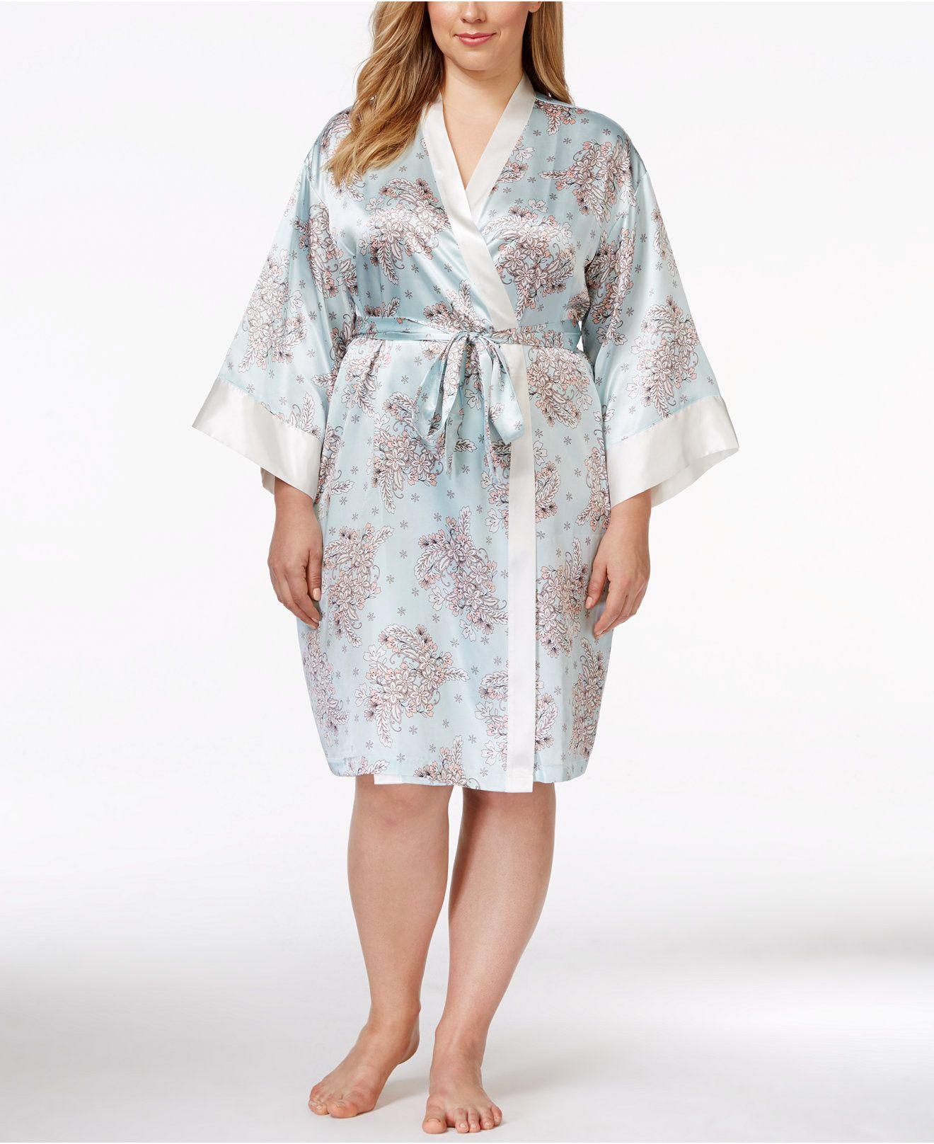 a341b26c5d Morgan Taylor Plus Size Floral-Print Satin Robe
