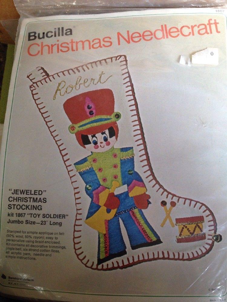 """Vintage BUCILLA Jeweled FELT CHRISTMAS STOCKING KIT """"toy ..."""