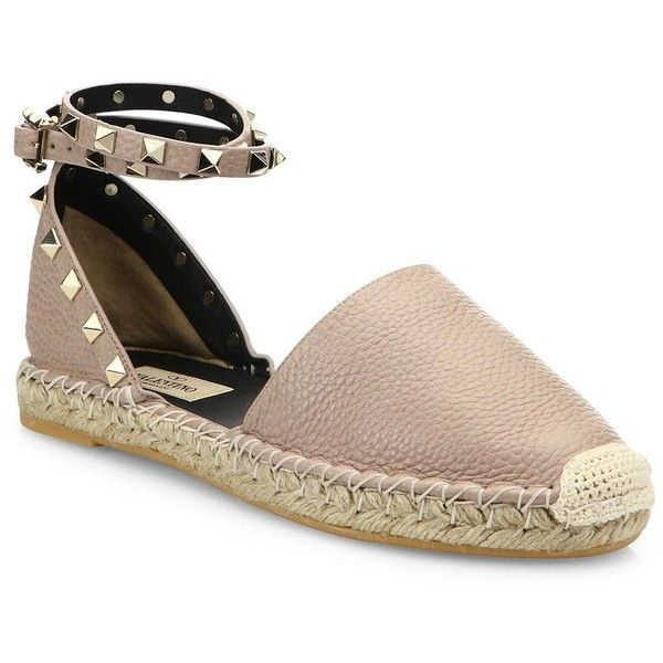 2a54ef19b629 Valentino Rockstud Leather D Orsay Espadrille Flats ( 795) ❤ liked on  Polyvore featuring shoes