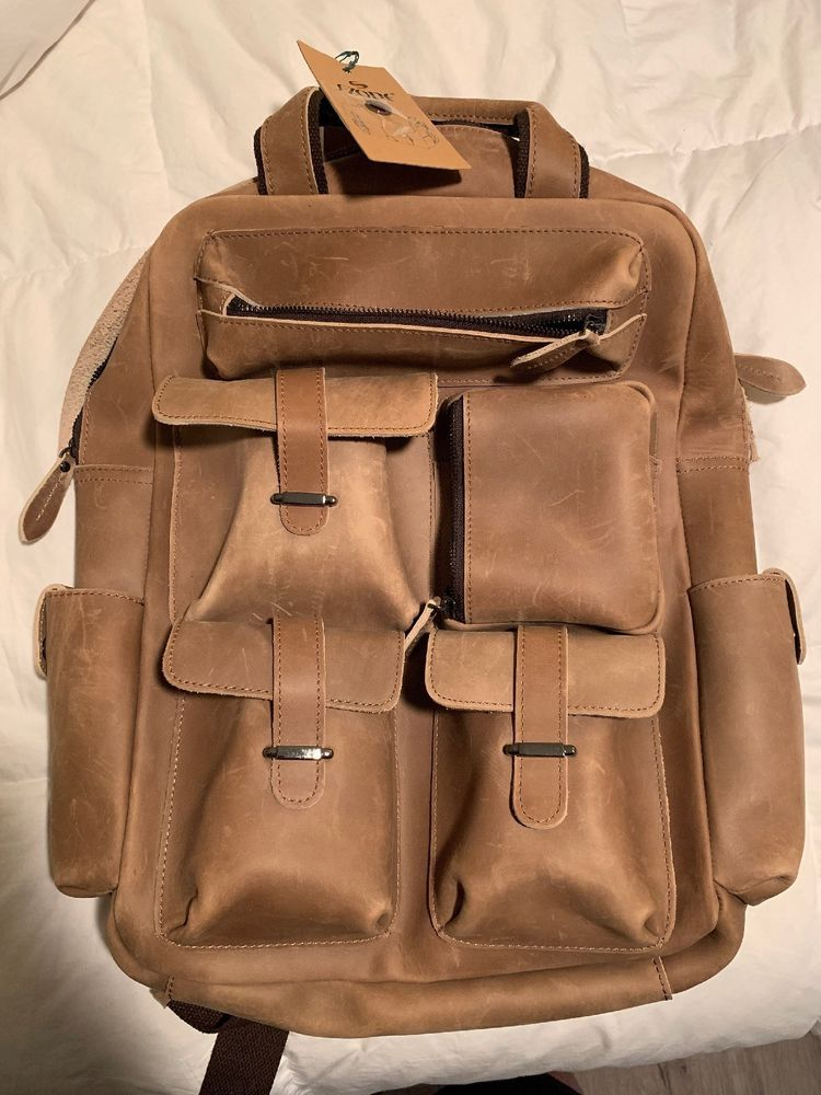 S-ZONE Vintage Crazy Horse Genuine Leather Backpack Multi Pockets Travel  Sports  fashion   06f7873ce4b8b