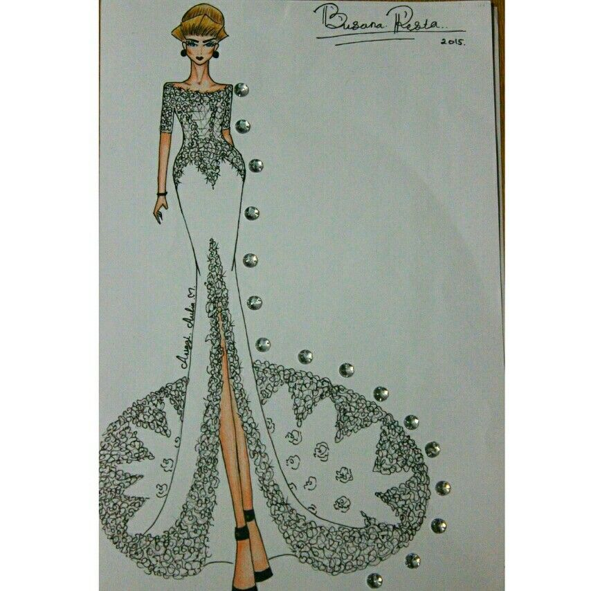 Desain Busana Pesta Semeter 4 Pola Jahitan Sketches Fashion
