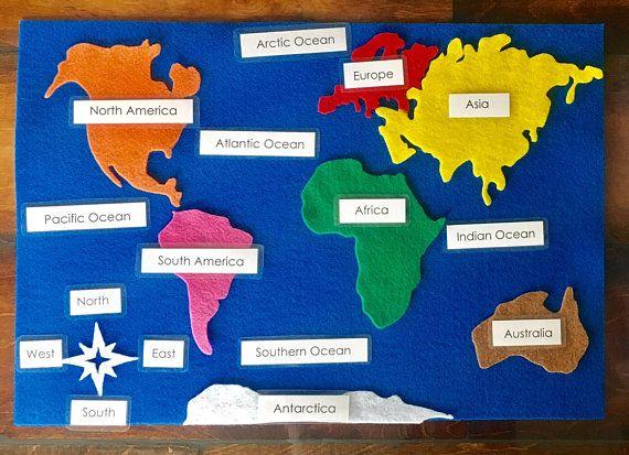 Continents Felt Map with Labels | Schule | Pinterest | Blaue karte ...