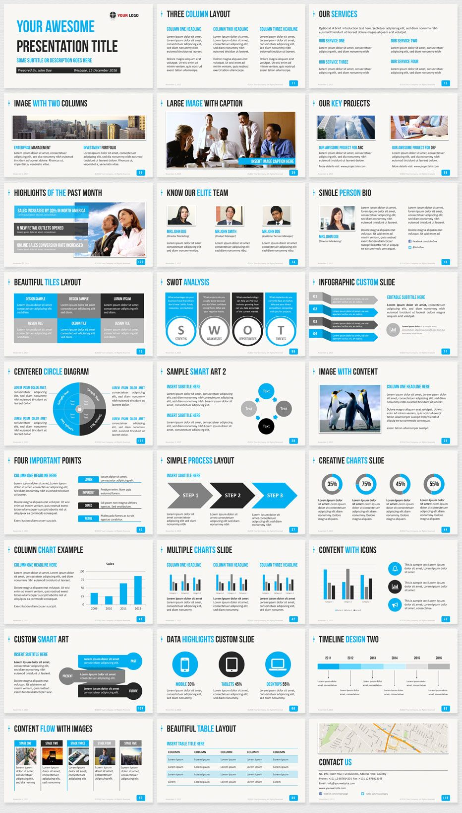 Business powerpoint template blue slide thumbnails dcs in 2018 business powerpoint template blue slide thumbnails wajeb Gallery
