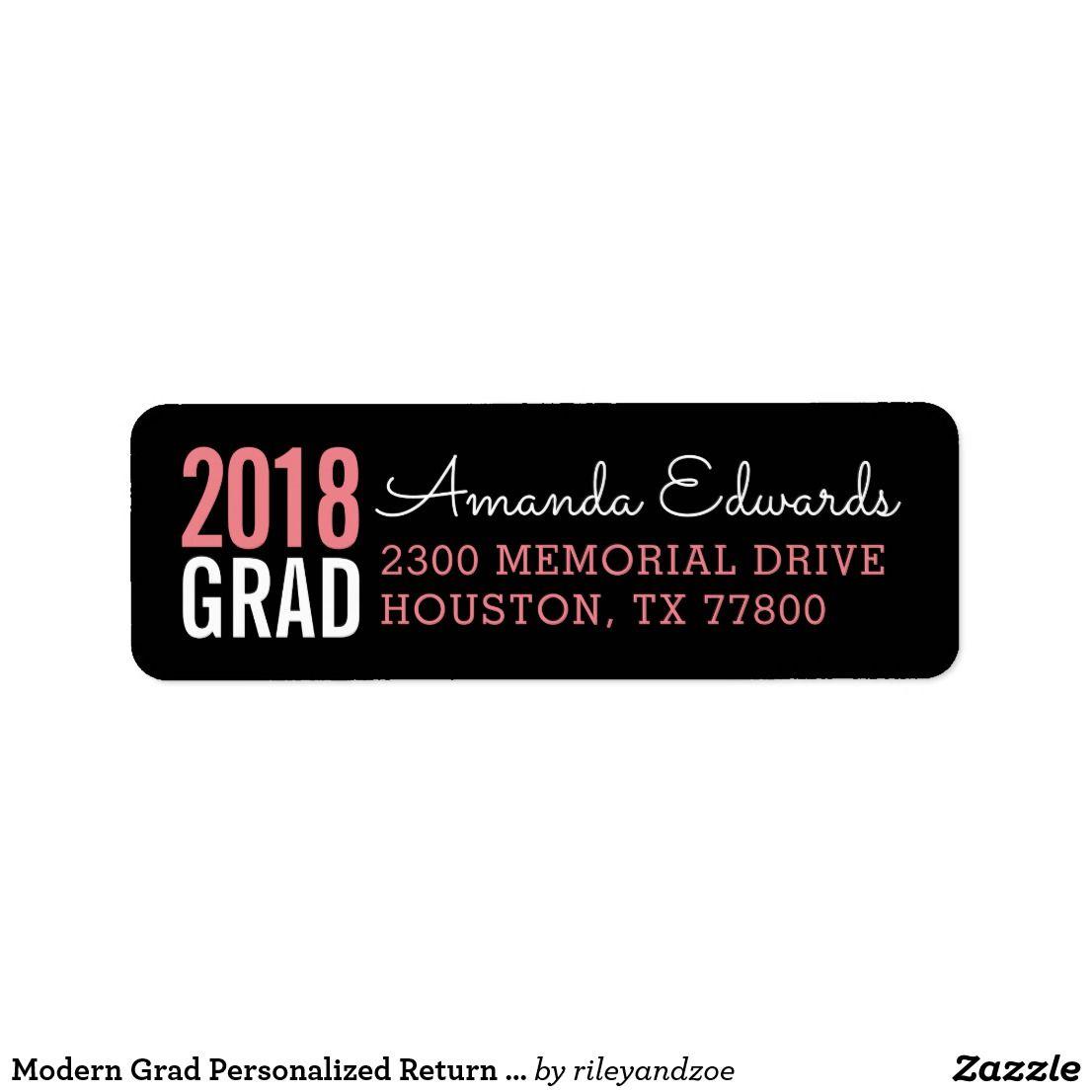 modern grad personalized return address label personalized return