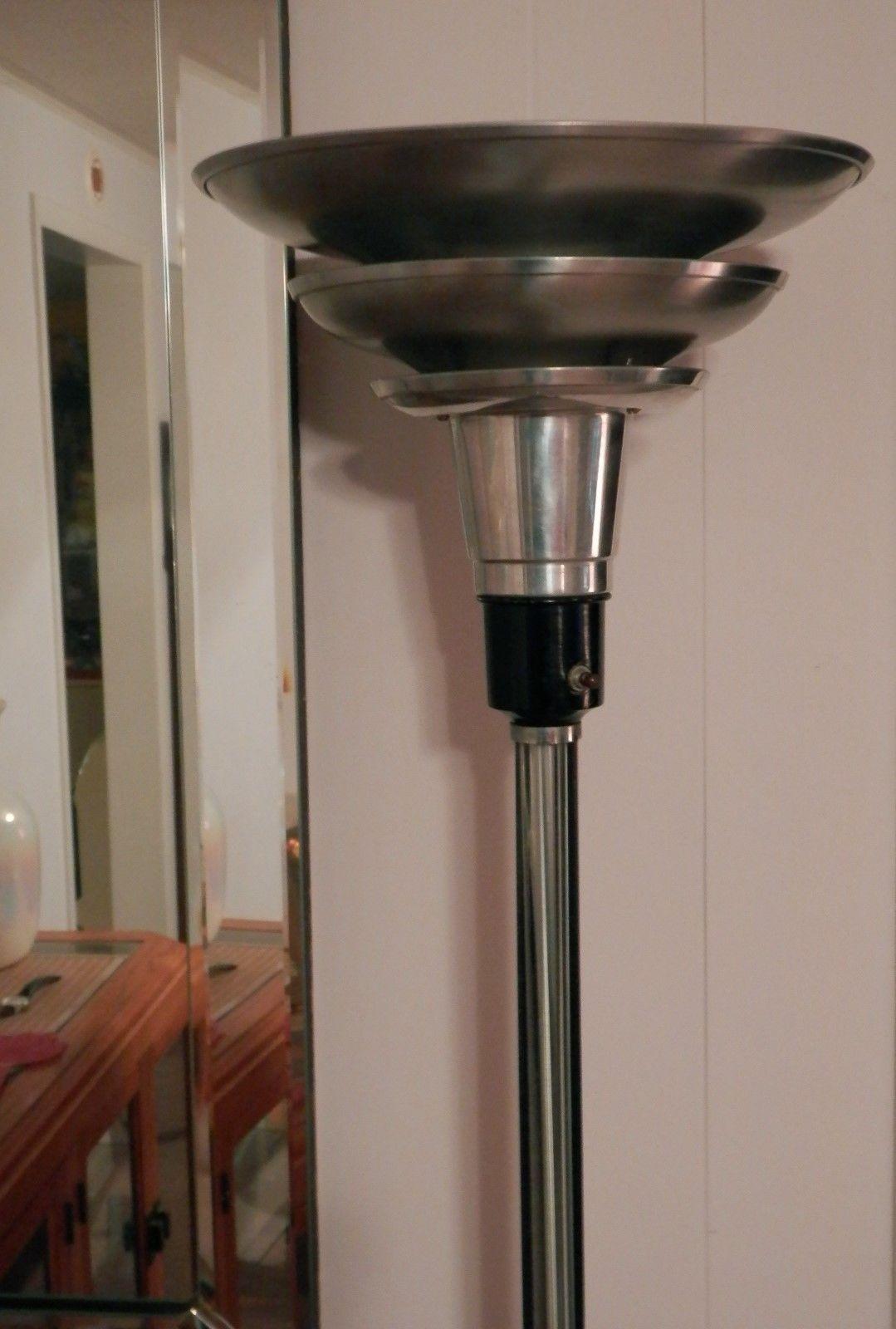 Vintage 1920 S Art Deco Spun Aluminum Torchiere Floor Lamp