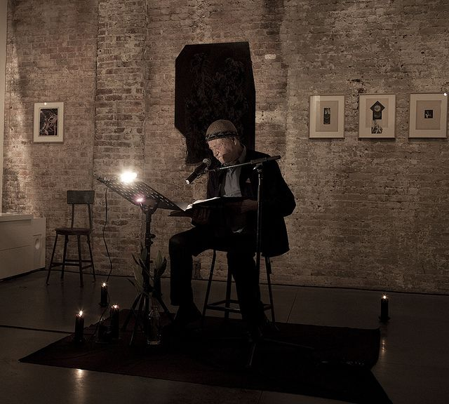 JONAS MEKAS reading poetry at agnes b. Howard St NYC     See the latest #Art shows in     Manhattan with https://www.artexperiencenyc.com