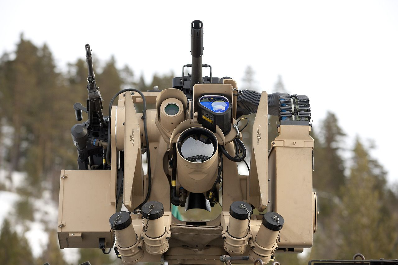 visualreverence: Protector (RWS) The M151 PROTECTOR Remote Weapon Station is a remotely controlled weapons station (RWS) that can be mounted to vehicles and stationary platforms. It is manufactured by Kongsberg Defence & Aerospace[1] of Norway and Thales Group of France. [via]