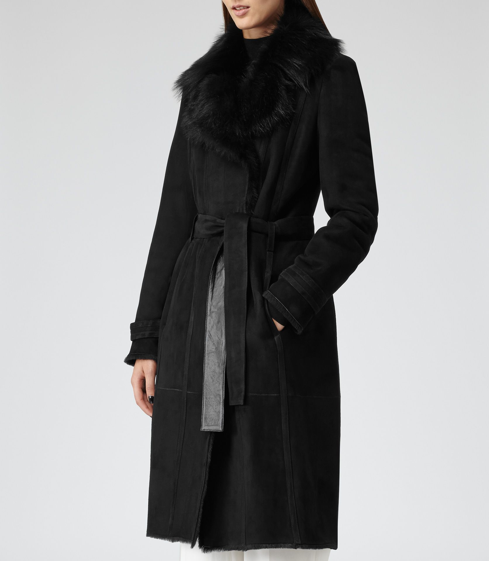 Reiss Minelli Women's Black Shearling Leather Coat | Delivery ...