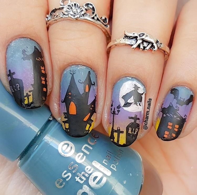 Haunted House Halloween Manicure By Charm Nails Using Our Witch Nail Art Decals Found At Snailvinyls Com Unas