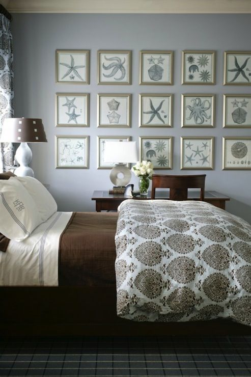 bedrooms - blue walls blue starfish art collection blue brown