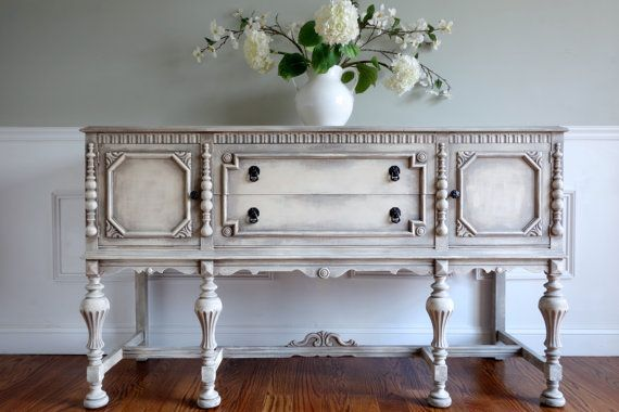 Sold Antique Ornate Carved Jacobean Hand Painted French Country Shabby Chic Weathered White And