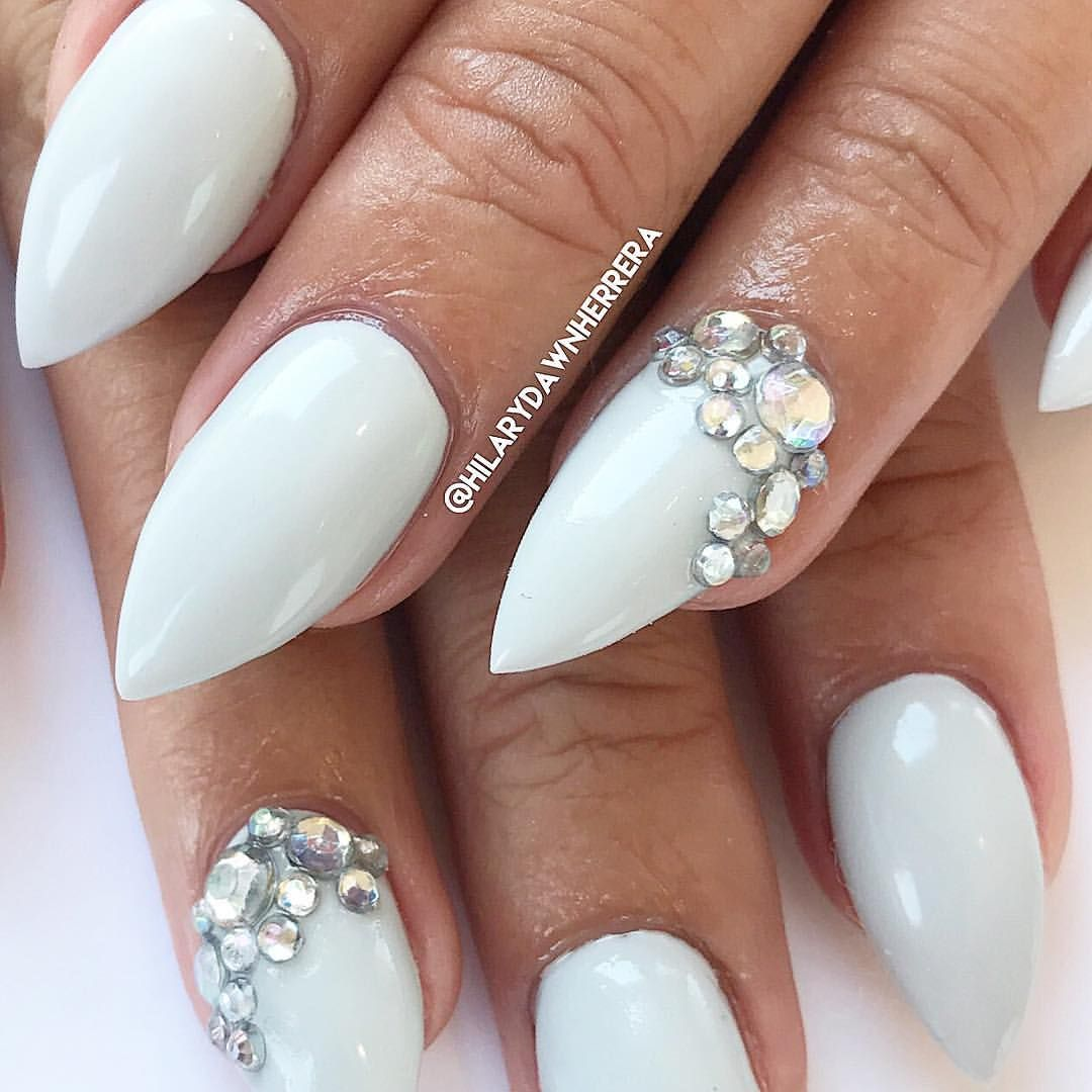 Stiletto grey nails with gems | nails | Pinterest | Gray nails