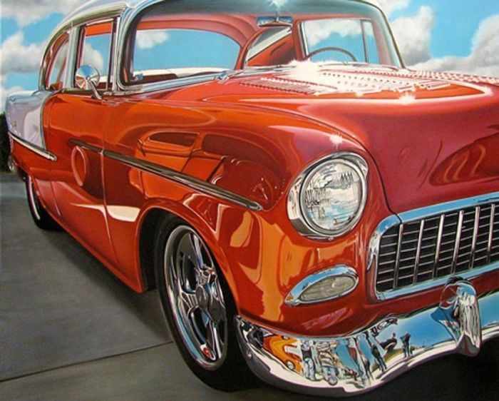 Painting Of Classic American Cars