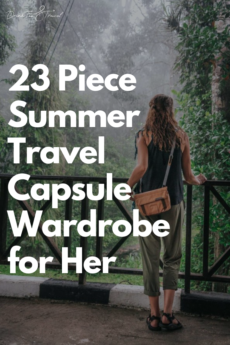 23 Piece Summer Travel Capsule Wardrobe for Her  #travelwardrobesummer Travel light with this summer travel capsule wardrobe. This travel capsule wardrobe follows a few simple rules which make creating fun and fashionable summer travel outfits easy. #travelwardrobesummer