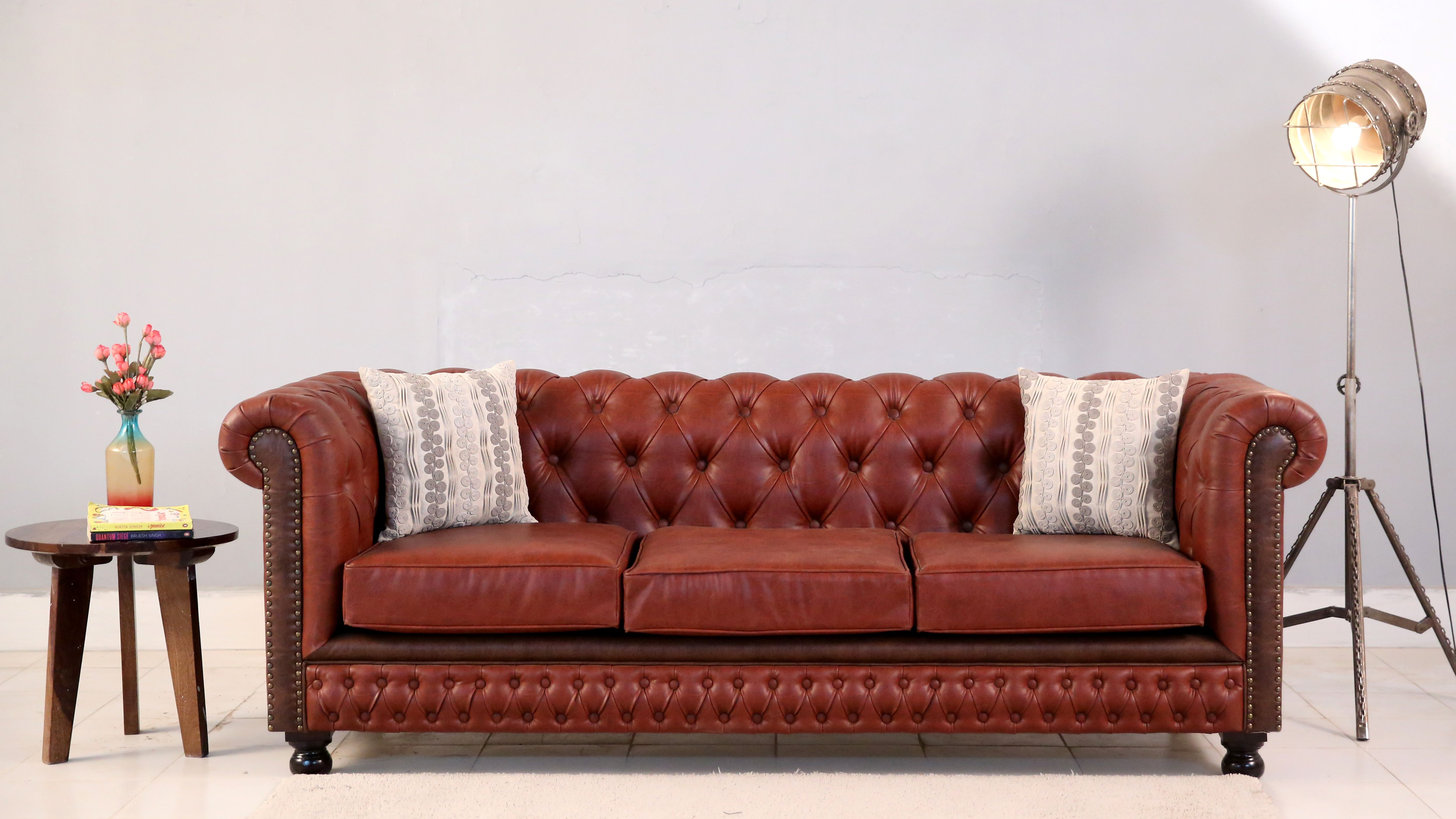 Buy Crispix 3 Seater Chesterfield Sofa Fabric Indigo Ink Online