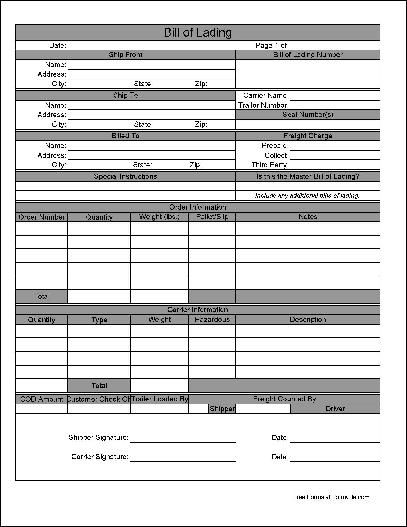Printable Sample Bill Of Lading Pdf Form | Real Estate Forms