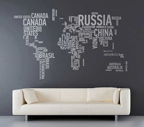 VERY COOL! World Map with Country names contemporary wall decal ...