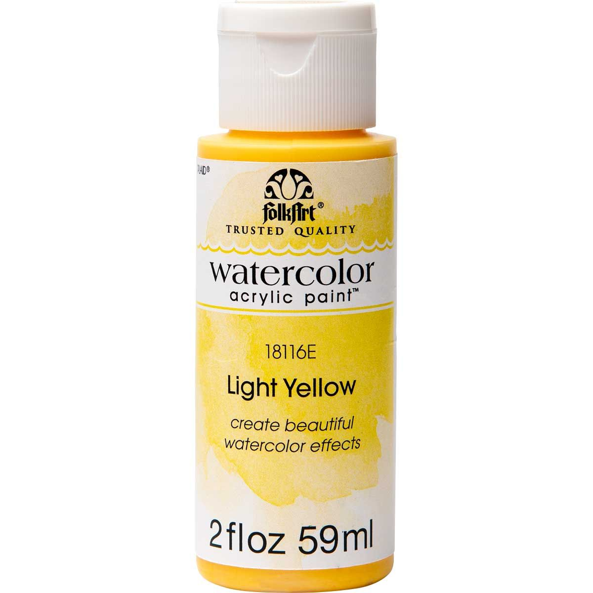 Folkart Watercolor Acrylic Paint Light Yellow 2 Oz