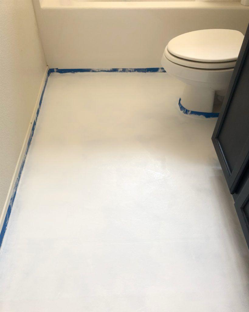 Bathroom Makeover Phase 2 Chalk Painted Linoleum Floors Linoleum Flooring Paint Linoleum Painting Linoleum Floors
