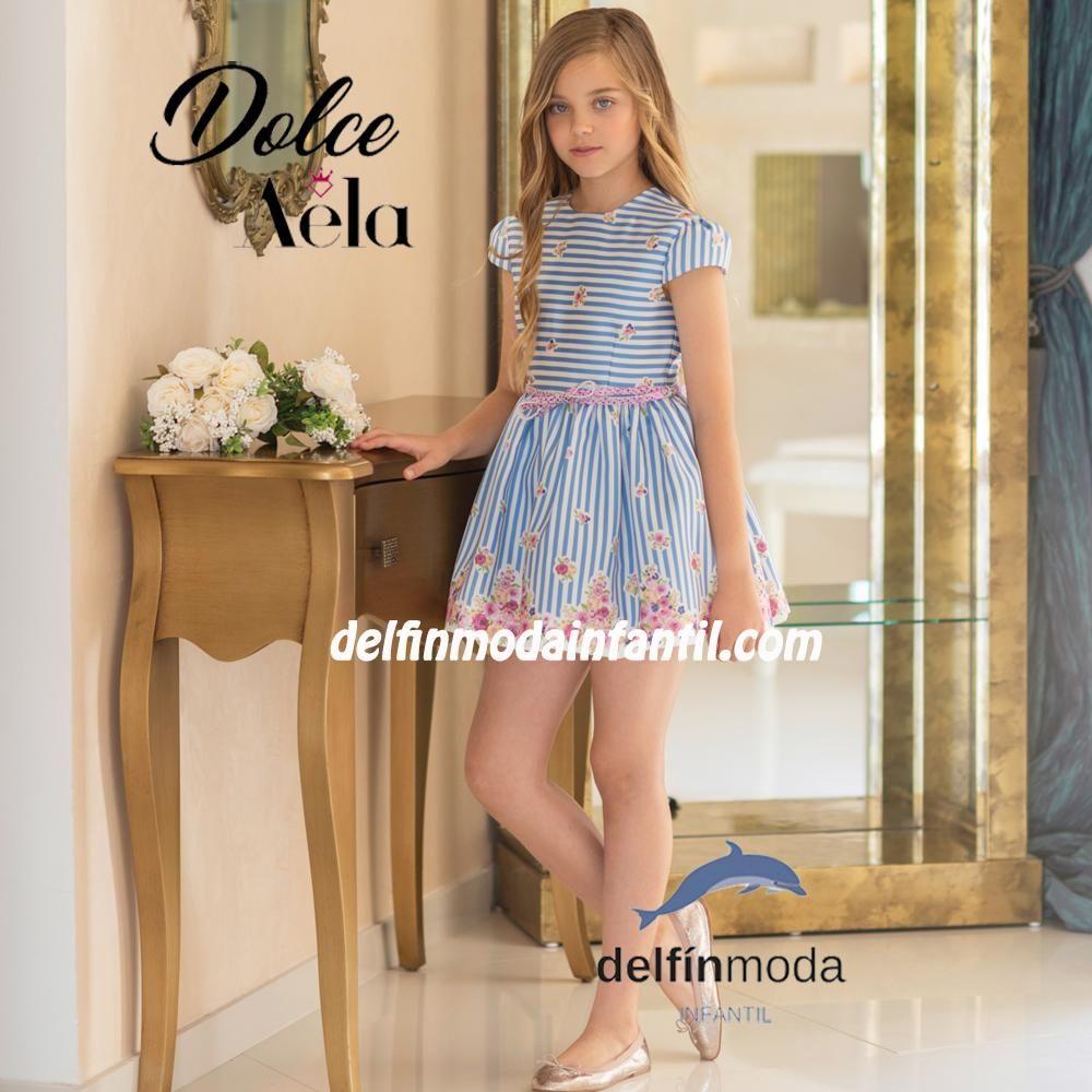 04d8f0da3 Comprar Vestido para niña DOLCE AELA satén rayas y flores