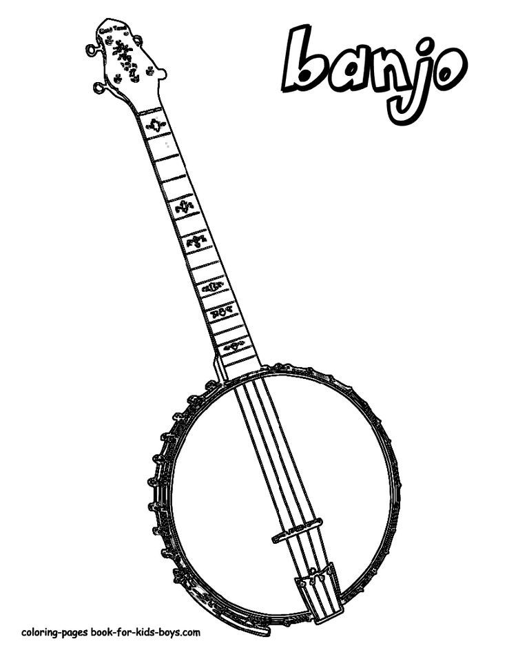 Country Music Banjo Coloring Pages Free Downloads Coloring Pages For Boys Coloring Pages For Boys Coloring Pages Musical Instruments Drawing