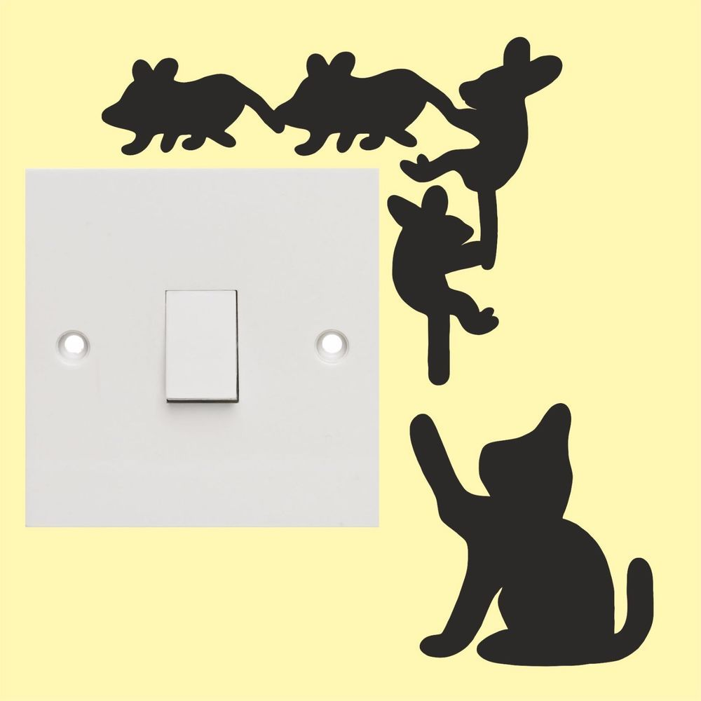 Details about Cat & Mice light switch stickers - Wall Art Decal ...