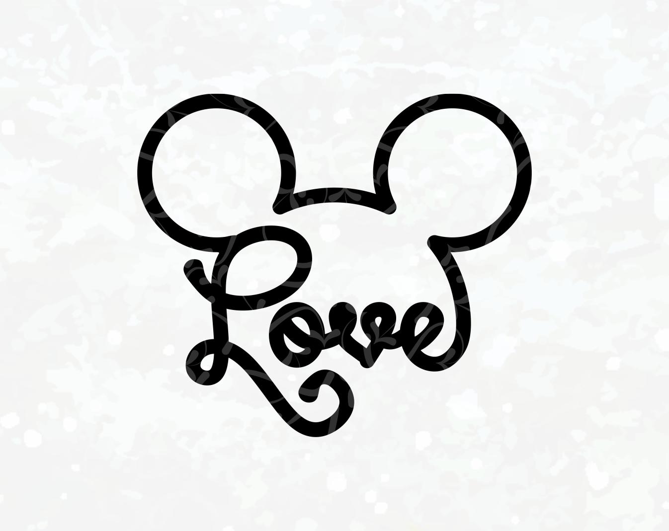 Download Disney SVG - Mickey Ears Love - Love SVG - Mickey Head ...