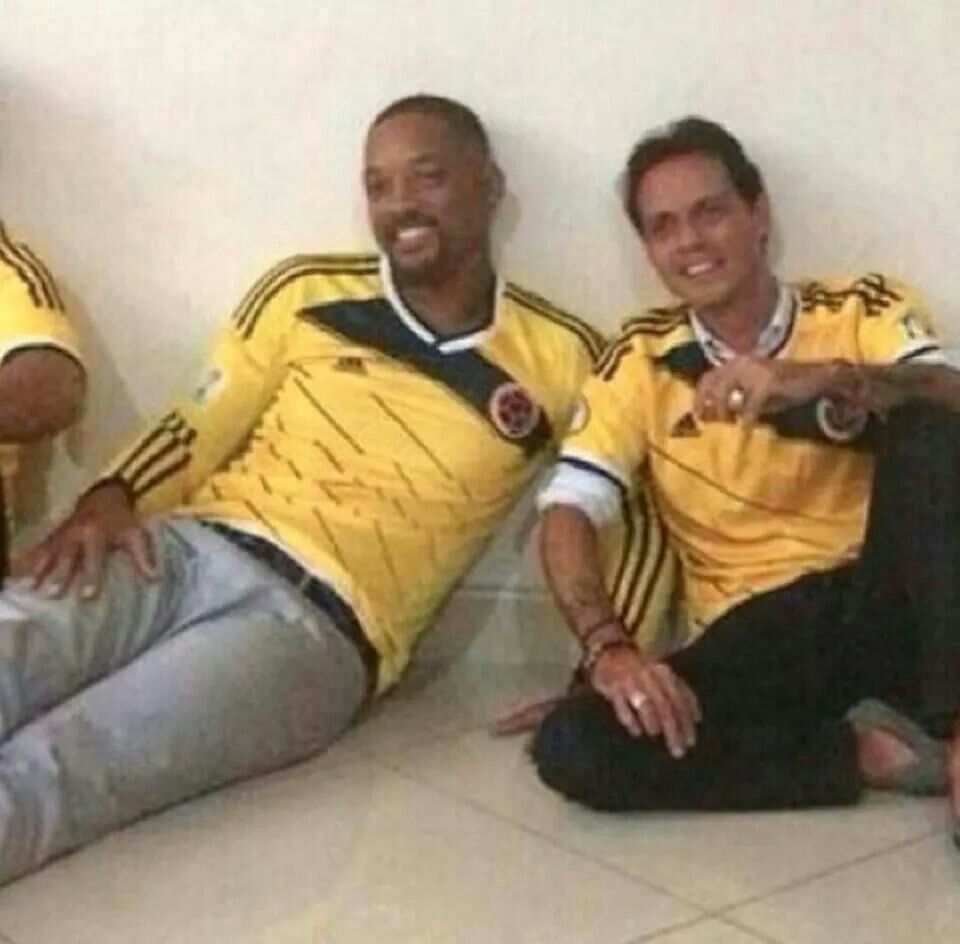 Marc Anthony and Will Smith apoyando a Colombia. June 29, 2014