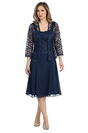 c20a358014a0 ... length sleeve lace bolero jacket. The Dress Outlet Short Mother of the  Bride Church Dress with Jacket at Amazon Women's Clothing store: