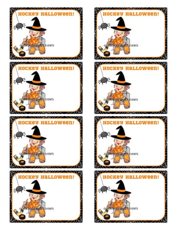 Hockey Halloween Cards - 2.5 x 3.5   Instant Download - Printable- GLAMOROUS SWEET EVENTS