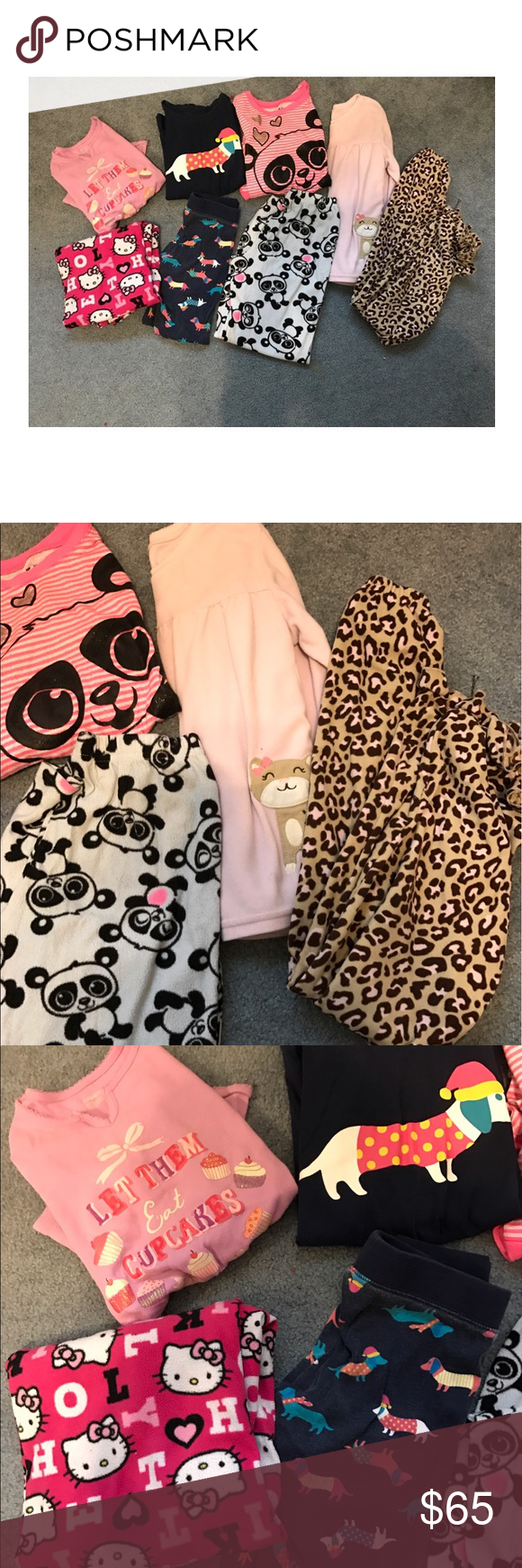 Size 10 girls bundle of pajama sets Size 10 bundle of pajama sets. From various brands that include Gap, Justice, Carters, and Old Navy. All gently worn. The leopard set is a soft material all throughout the pajama top and bottom, from carters, and the are stretchy comfortable material with stretch waistband. Dog set is a comfy t shirt and legging pant that stretch with dog print all throughout and is from old navy. The hello kitty pants are not a set and the cupcake t shirt is also not a…