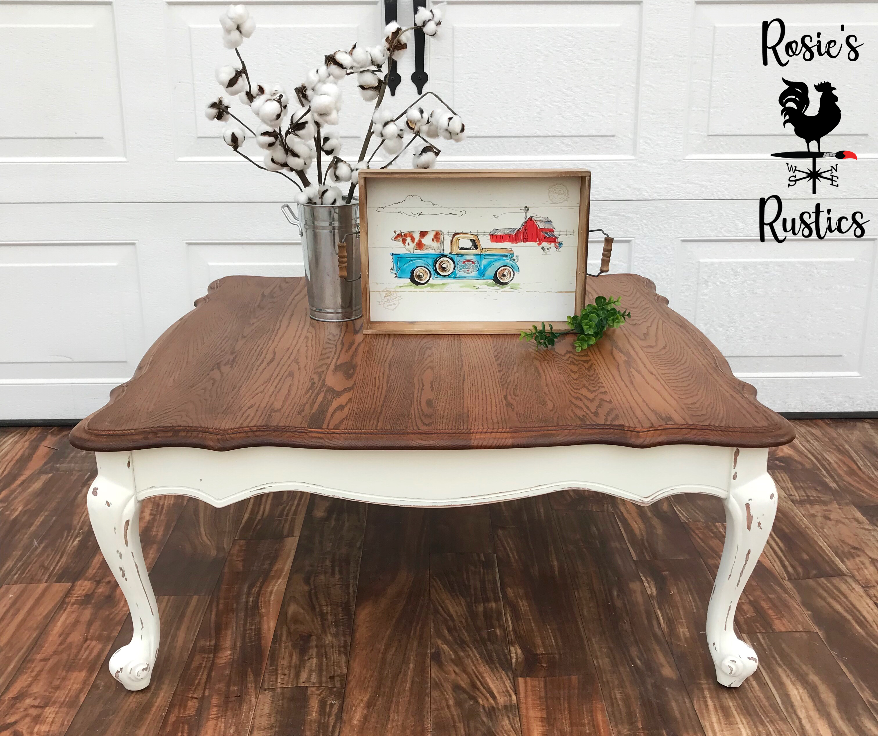 Chalk Painted Coffee Table Farmhouse Style Two Tone Stained Top