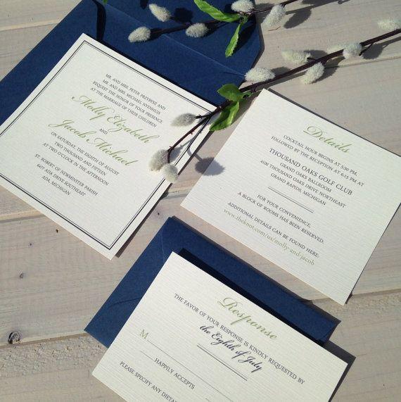 Navy Blue And Ivory Wedding Invitations: Navy And Ivory Wedding Invitations Navy By