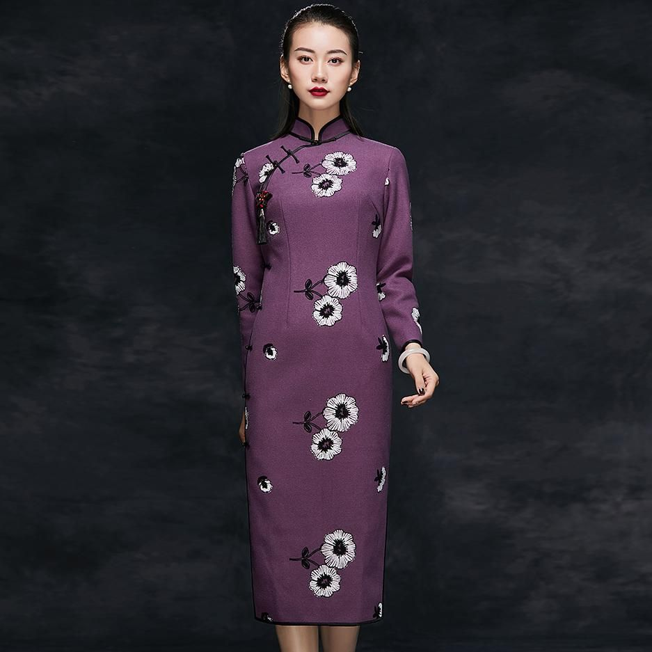 Long Sleeve Floral Embroidery Thick Woolen Cheongsam Chinese Dress Chinese Dress Dresses Cheongsam [ 937 x 937 Pixel ]