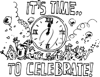 15+ New Years Eve Black And White Clipart