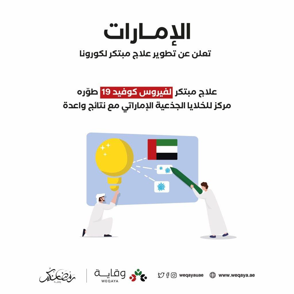 الإمارات تعلن عن تطوير علاج مبتكر لكورونا Alc Uae