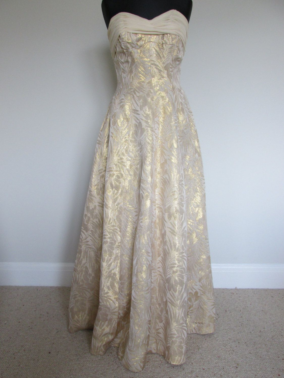 S s couture gold brocade heart boned by supergirlvintage