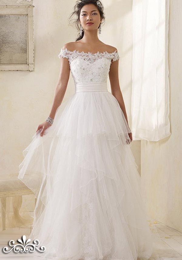 Dresses, Modern Vintage Bridal Off Shoulder Straps Wedding Dresses ...