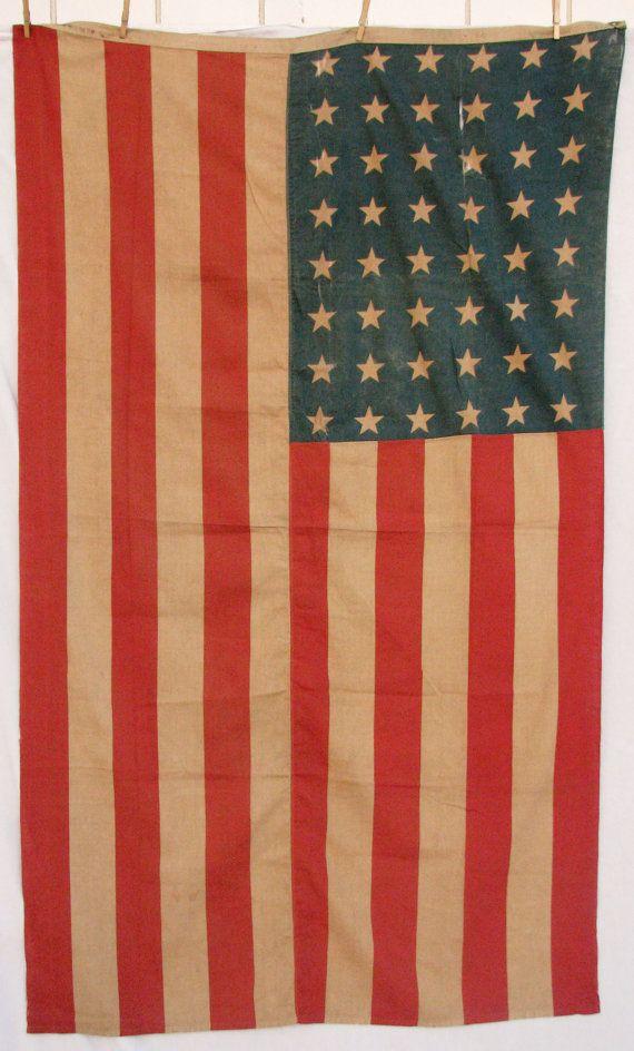 48 Star Vintage American Flag Linen Via Etsy Old American Flag Vintage American Flag American Flag