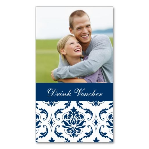 Blue Damask Photo Wedding Drink Voucher Business Card Make your - make voucher