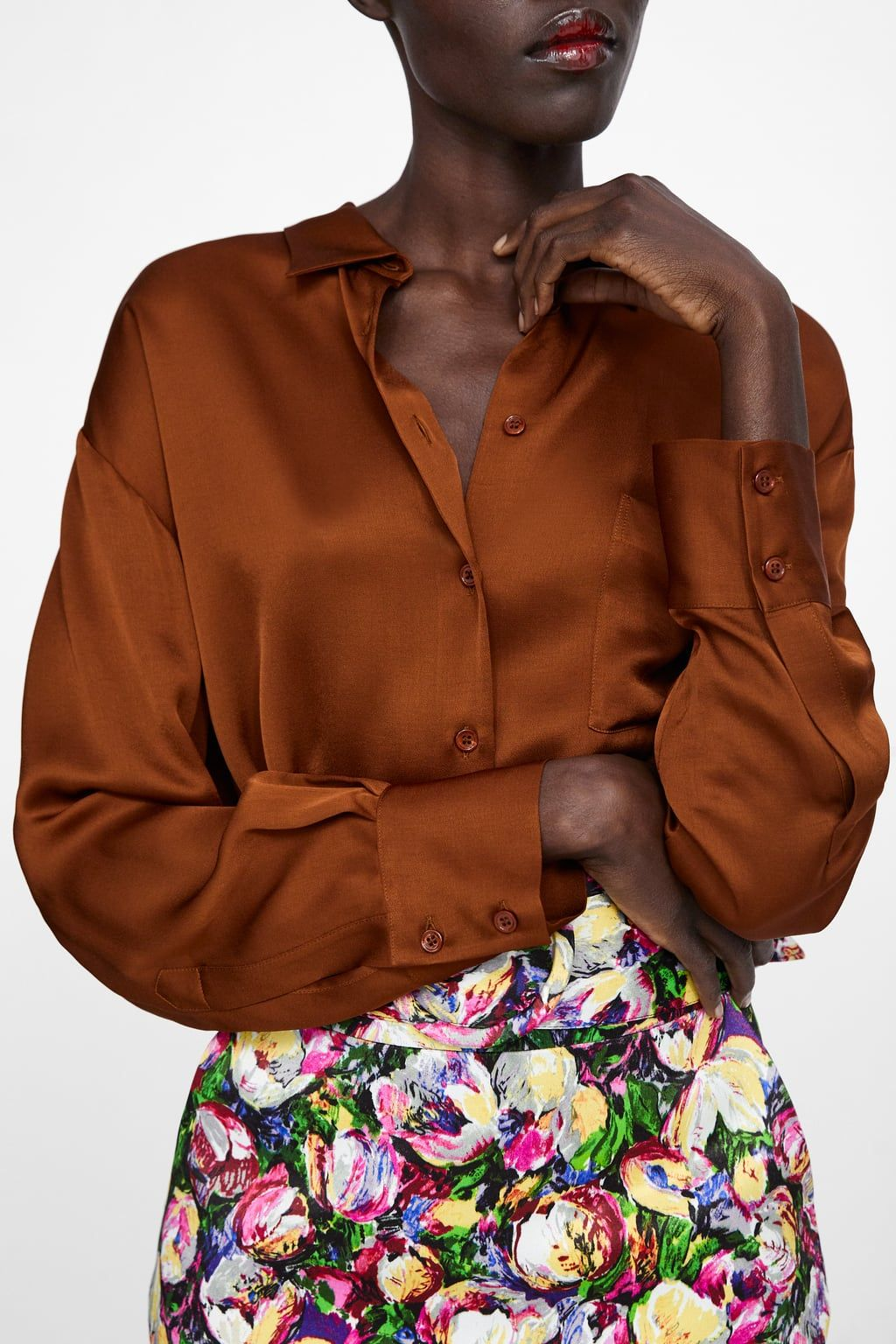 e2d64a65 ... a top in this color, I suggest you get one. It's beautiful and  flattering. It also works with any neutrals you have in your wardrobe. SATIN  SHIRT WITH ...